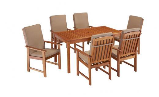 Gartengruppe Essgruppe Garten Tisch Stühle Auflage Eukalyptusholz 7150067