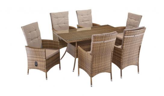 Gartengruppe Essgruppe Tisch 150x80 Stühle Rattan Stauraum 7150039