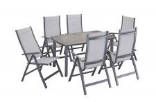 Gartengruppe Essgruppe Gartenmöbel Stühle Tisch 150x90 grau 7150135