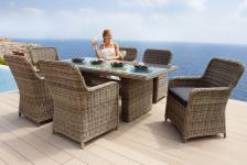 Gartenmöbel Gartengruppe Tisch Stühle Rattan inkl. Auflagen grau 13tlg 7150075