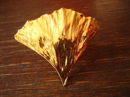 Schätze der Natur edler Gingko Ginkgo Ring Gelbgold neu Handarbeit verstellbar