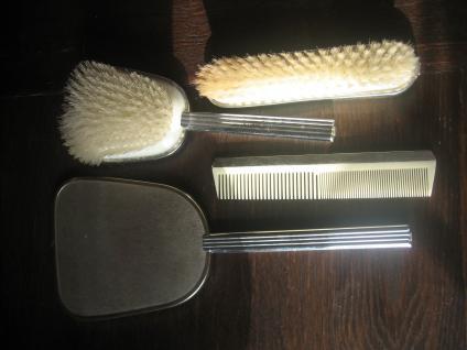 70er Jahre vintage Konvolut Frisiertisch 4teilig Bürste 2x Spiegel Kamm silber