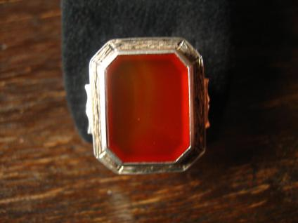 wuchtiger verzierter Art Deco Herrenring Siegelring Ring 835er Silber Carneol
