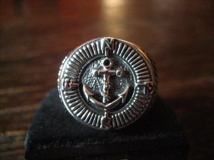 maritimer Herrenring Ring Kompass und Anker 925er Silber neu et Nox 20, 5 mm G 65