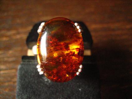toller modern gefasster massiver Bernstein Ring 925er Silber 18, 25 mm RG 58