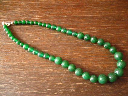 prächtige elegante Smaragd Kugel Collier Kette grün Verlauf groß facettiert