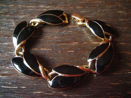 exquisite Vintage Designer Armband Trifari Schwarz Gold 80er Jahre Eighties - Vorschau 1
