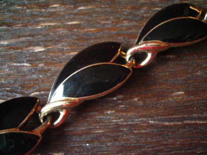 exquisite Vintage Designer Armband Trifari Schwarz Gold 80er Jahre Eighties - Vorschau 2