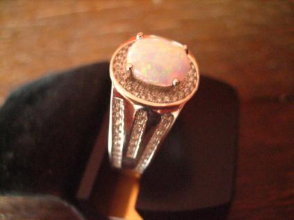 schwerer eleganter Ring 925er Silber echter Opal Edelopal Zirkonia RG 65 20, 5 mm