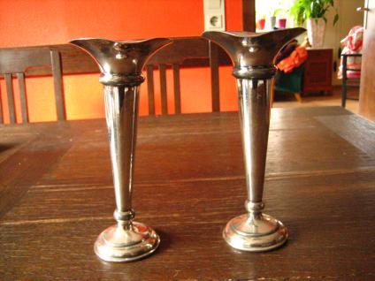 Paar 2 Stück edle Vasen Rosenvase Trompetenvase silber pl Martin Hall Sheffield - Vorschau 1