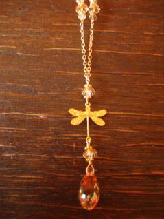 süße Designer Collier Kette Libelle 925er Silber vergoldet Swarovski Elements