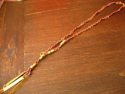 ausgefallene ultra coole Statement Collier Kette Designer Leonardi Arte rot gold - Vorschau 1