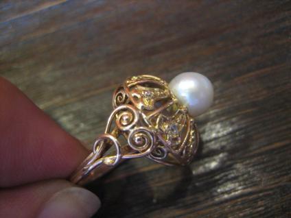 Königlicher Diamant Brilliant Ring echte Perle 585er Gold Cocktailring Perlenring