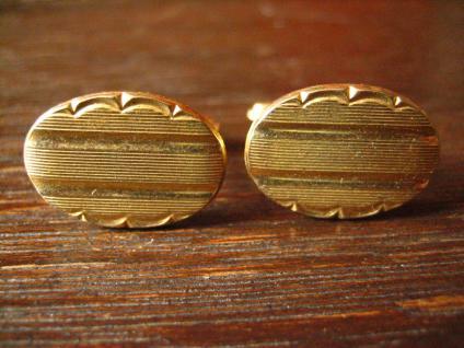ausgefallene edle Manschettenknöpfe gold ovale Form Art Deco Stil sehr edel