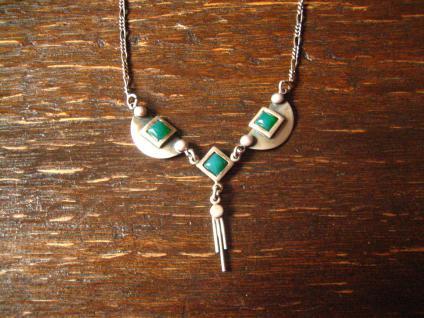 hauchzarte Art Deco Collier Kette 925er Silber grüner Achat bezaubernd schön
