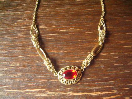 elegantes Jugendstil gold Collier Kette mit rubin Stein super schöne Form Doublé