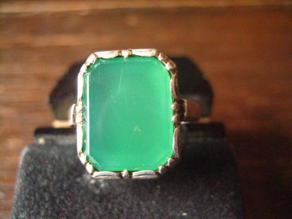 eleganter Art Deco Herrenring Siegelring Ring 905er Silber grüner Achat RG 58
