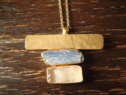 sehr edle Statement Collier Kette Designer Leonardi Arte gold Iolith Calcit