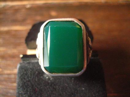 eleganter Art Deco Herrenring Siegelring 800er Silber grüner Achat 19 mm RG 60