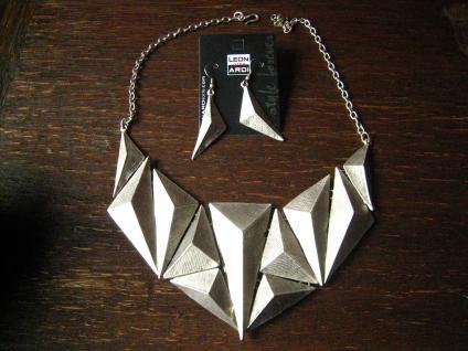 avantgardistisch elegantes Designer Statement Collier Kette Leonardi Arte silber