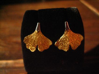 tolle Gingko Ginkgo Blatt Ohrringe Stecker 925er Silbers gold fein ausgearbeitet