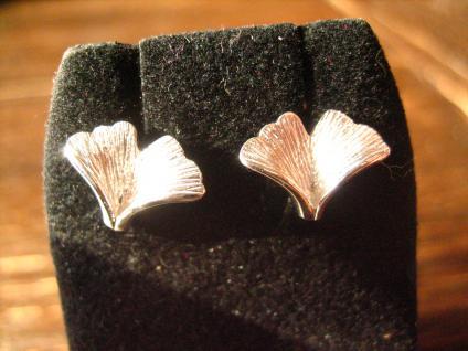 sehr feine Gingko Ginkgo Blatt Ohrringe Stecker 925er Silbers toll ausgearbeitet