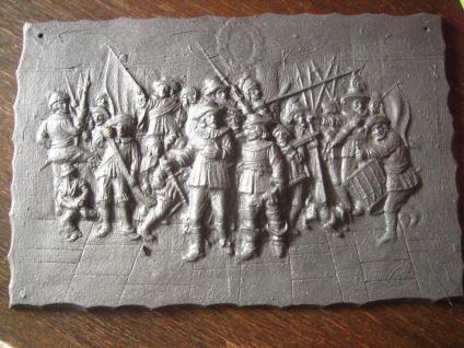 dekorative Gusseisenplatte Ofenplatte Gusseisen Kunstguss Musketiere Soldaten