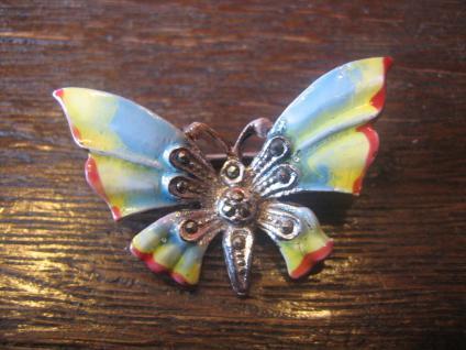 wunderschöne Schmetterling Brosche bunt emaillierte Flügel Markasit Emaille - Vorschau 1