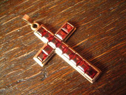 sehr schöner Rotgold Kreuz Anhänger mit Topasen Topas rot 333er Gold punziert - Vorschau 2