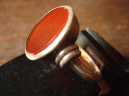 klassischer Art Deco Siegelring Herrenring Ring Carneol 835er Silber 20 mm RG 63