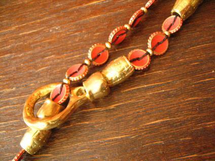 ausgefallene ultra coole Statement Collier Kette Designer Leonardi Arte rot gold - Vorschau 3