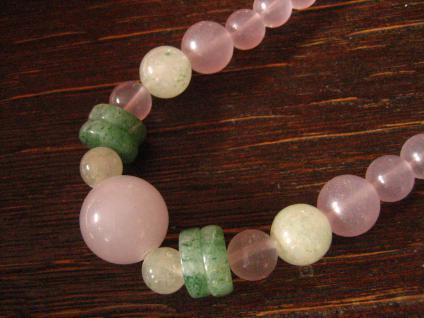 feine vintage Kugel Kette Collier Rosenquarz Kugeln Jade Rondell grün rose