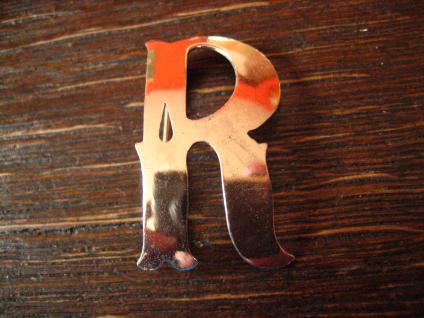Zeitlose dekorative Monogramm Brosche Buchstaben Brosche R 800er Silber Handmade