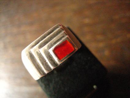 moderner und edler vintage Designer Ring Silber Emaile rot RG 55 / 17, 4 mm
