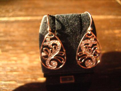bezaubernde Ornament Ohrringe Hänger 925er Silber rotgold Zirkonia neu Ohrhänger