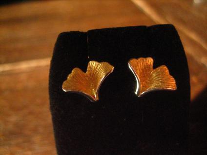 feine Gingko Ginkgo Blatt Ohrringe Stecker 925er Silber gold toll ausgearbeitet