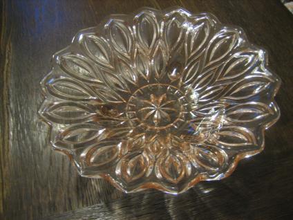 tolle Pressglas Schale Anbietschale Obstschale Sonnenblume zart rosa 50er Jahre