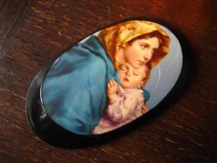 traumhaft schöne Miniatur Madonna Maria mit Jesus Kind Lackarbeit Bild Wandbild
