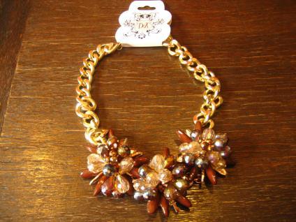 opulentes Designer Statement Collier Kette gold braun beige Handarbeit Unikat