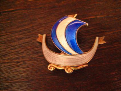 Aksel Holmsen Drachenboot Brosche Emaille 925er Silber Wikinger Wikingerschiff