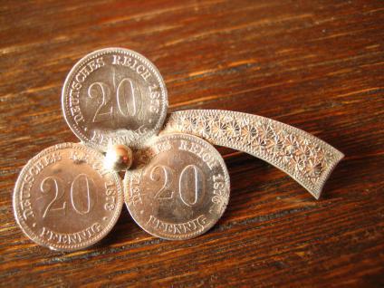 Biedermeier Münzbrosche 20 Pfennig 1876 Klee Glücksklee Kleeblatt Glück Silber