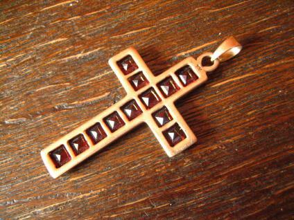 sehr schöner Rotgold Kreuz Anhänger mit Topasen Topas rot 333er Gold punziert - Vorschau 3