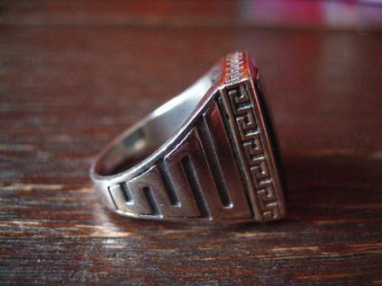 geschmackvoller Herrenring Siegelring Ring 925er Silber Onyx Mäanderband RG 57