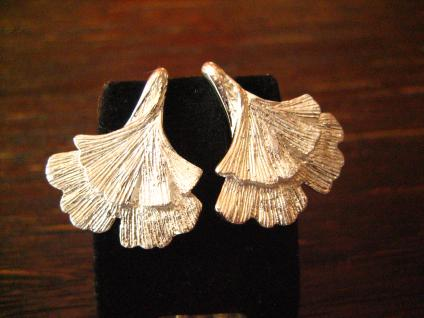 super tolle Gingko Ginkgo Blatt Ohrringe Stecker 925er Silber fein ausgearbeitet