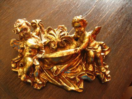 nostlgische Deko Wandschmuck 2 Engel Putten Putto Putti mit Brunnen gold gefasst