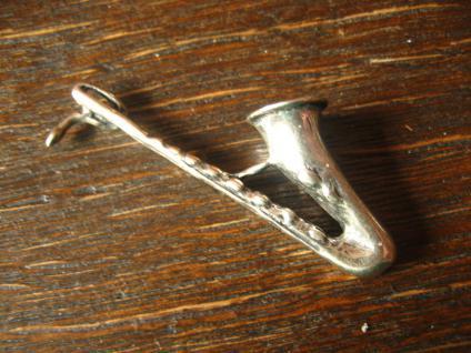 großer Anhänger Saxophon Musik Musiker Jazz 925er Silber vollplastisch