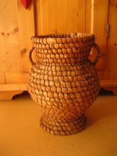 riesiger antiker Korb Strohkorb Vorratskorb für Trockenobst geflochten um 1880