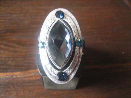 riesiger ausgefallener Schiffchenring Ring opultentem Stein blau silber Bling !