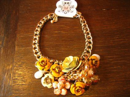 prächtiges Designer Statement Collier Kette üppige Blüten gold Handarbeit Unikat