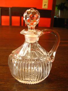 schnuckelige kleine Pressglas Essig Öl Flasche Karaffe Flacon mit Glas Stopfen